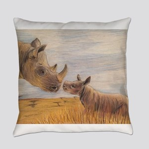 Rhino mom and baby Everyday Pillow
