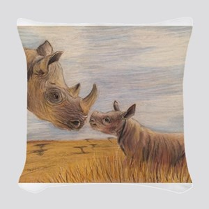 Rhino mom and baby Woven Throw Pillow