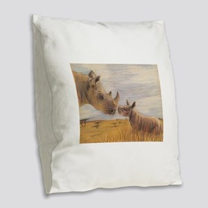 Rhino mom and baby Burlap Throw Pillow