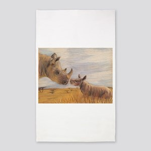 Rhino mom and baby Area Rug