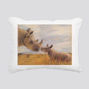 Rhino mom and baby Rectangular Canvas Pillow