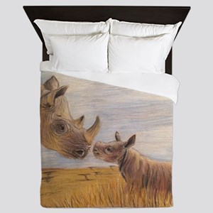 Rhino mom and baby Queen Duvet