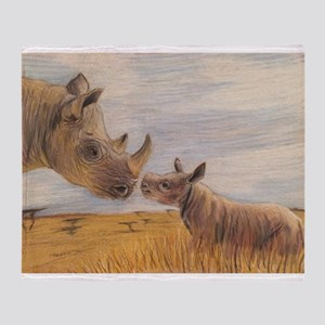 Rhino mom and baby Throw Blanket