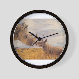 Rhino mom and baby Wall Clock