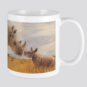 Rhino mom and baby Mugs
