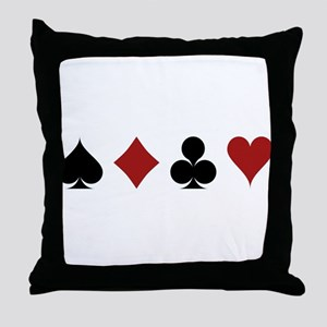 Four Card Suits Throw Pillow