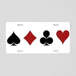 Four Card Suits Aluminum License Plate