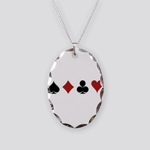 Four Card Suits Necklace Oval Charm