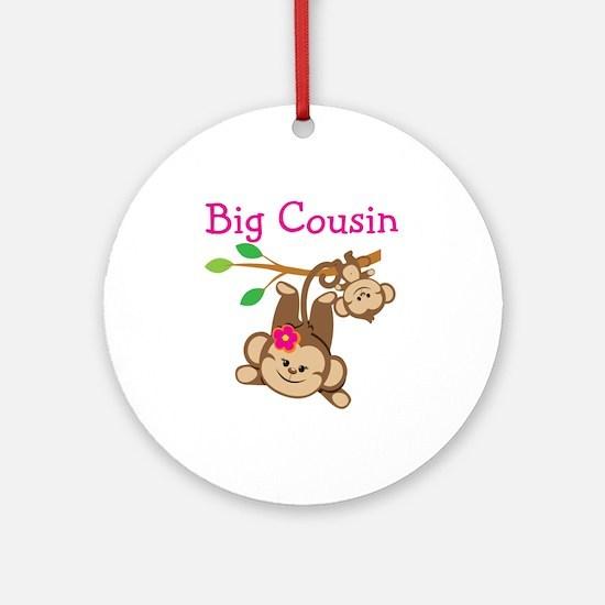 Monkeys Girl Big Cousin Round Ornament