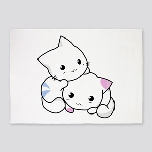 Cute Little Cartoon Kittens 5'x7'Area Rug