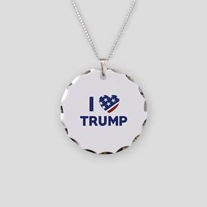 I Love Trump Necklace Circle Charm