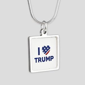 I Love Trump Silver Square Necklace