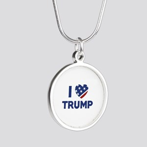 I Love Trump Silver Round Necklace