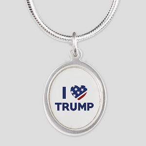 I Love Trump Silver Oval Necklace