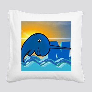 narwhal Square Canvas Pillow
