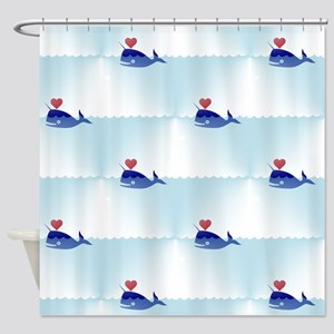 kawaii narwhal Shower Curtain