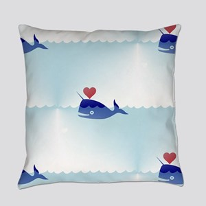 kawaii narwhal Everyday Pillow