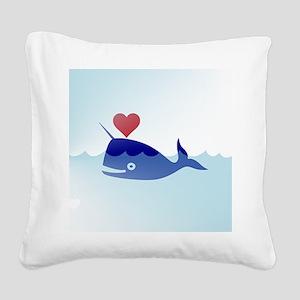 kawaii narwhal Square Canvas Pillow