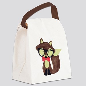 Hipster Brown Fox Watercolor Canvas Lunch Bag