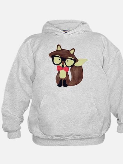 Hipster Brown Fox Watercolor Hoodie