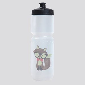 Hipster Brown Fox Watercolor Sports Bottle