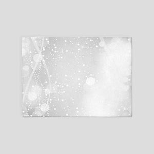 White Modern Glitter Bokeh Style 5'x7'Area Rug