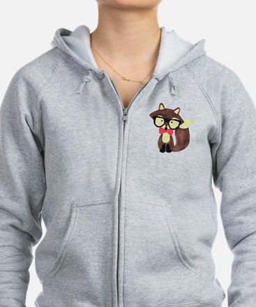 Hipster Brown Fox Watercolor Zip Hoodie