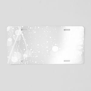 White Modern Glitter Bokeh Aluminum License Plate