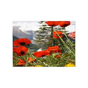 poppy flower area rugs cafepress