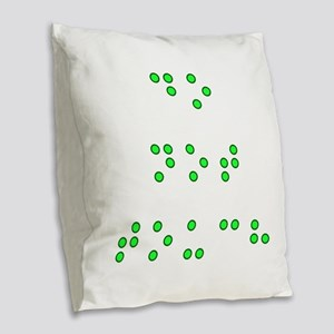 Do Not Touch in Braille (Green Burlap Throw Pillow