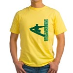 Freestyle Snowboard (Blue) Yellow T-Shirt