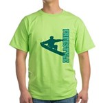 Freestyle Snowboard (Blue) Green T-Shirt