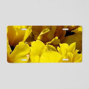 Yellow Tulips Sun and Shado Aluminum License Plate