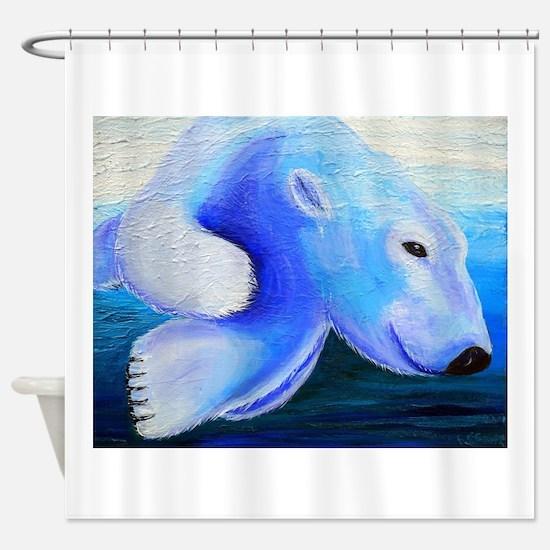 Swimming Polar Bear Shower Curtain