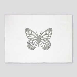 Silver Grey Butterfly 5'x7'Area Rug