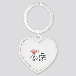 I'M A FLAMINGO IN A FLOCK OF PIGEON Heart Keychain