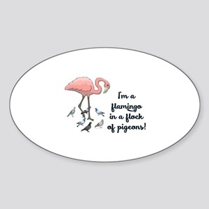 I'M A FLAMINGO IN A FLOCK OF PIGEON Sticker (Oval)