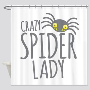 Crazy Spider lady Shower Curtain