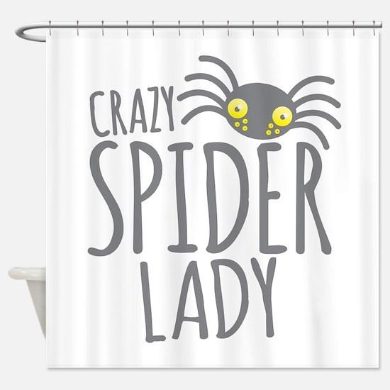 Crazy Spider lady Shower Curtain