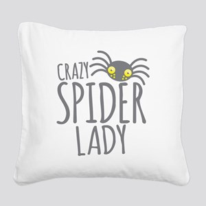 Crazy Spider lady Square Canvas Pillow