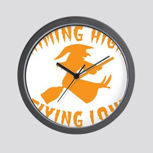 AIMING HIGH - flying low witch on a bro Wall Clock