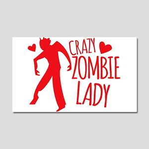 Crazy Zombie Lady Car Magnet 20 x 12