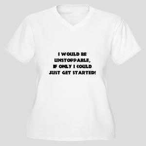 I WOULD BE UNSTOP Women's Plus Size V-Neck T-Shirt