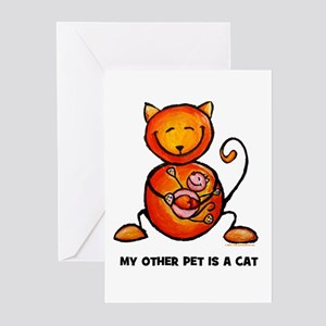 my other pet is a cat Greeting Cards (Pk of 10)
