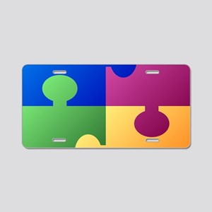 Colorful Puzzle Aluminum License Plate