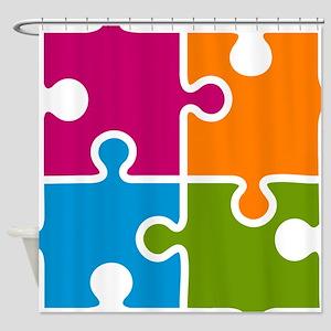 Puzzle Autism Awareness Shower Curtain