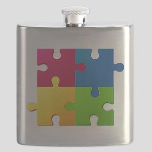 Autism Awareness Puzzle Flask