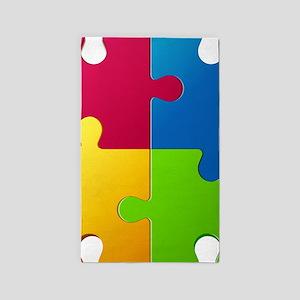 Autism Awareness Puzzle Area Rug