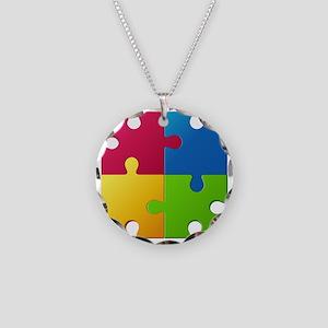 Autism Awareness Puzzle Necklace Circle Charm