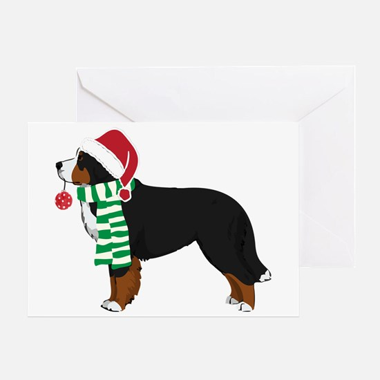 Christmas Bernese Mt Dog Greeting Cards
